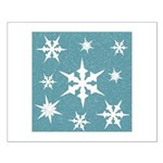 Blue and White Snow Flakes Posters