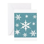 Blue and White Snow Flakes Greeting Cards