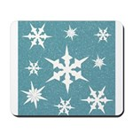 Blue and White Snow Flakes Mousepad