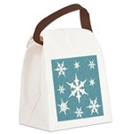 Blue and White Snow Flakes Canvas Lunch Bag