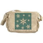 Blue and White Snow Flakes Messenger Bag