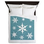 Blue and White Snow Flakes Queen Duvet