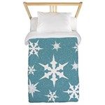 Blue and White Snow Flakes Twin Duvet