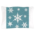 Blue and White Snow Flakes Pillow Case