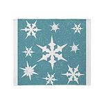 Blue and White Snow Flakes Throw Blanket