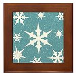 Blue and White Snow Flakes Framed Tile