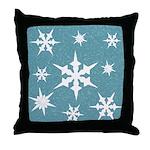 Blue and White Snow Flakes Throw Pillow