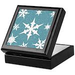Blue and White Snow Flakes Keepsake Box