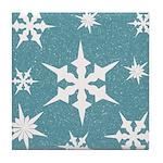 Blue and White Snow Flakes Tile Coaster