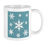 Blue and White Snow Flakes Mugs