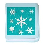 Blue and White Snow Flakes baby blanket