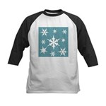 Blue and White Snow Flakes Baseball Jersey