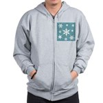 Blue and White Snow Flakes Zip Hoodie