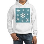 Blue and White Snow Flakes Hoodie