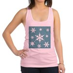 Blue and White Snow Flakes Racerback Tank Top