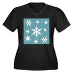 Blue and White Snow Flakes Plus Size T-Shirt