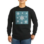 Blue and White Snow Flakes Long Sleeve T-Shirt
