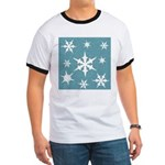 Blue and White Snow Flakes T-Shirt