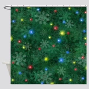 Christmas Snow Lights Shower Curtain