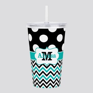 Black Teal Dots Chevron Personalized Acrylic Doubl