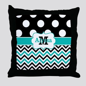Black Teal Dots Chevron Personalized Throw Pillow