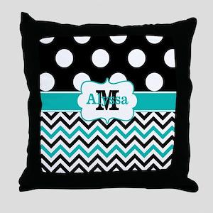 Black Teal Dots Chevron Personalized Throw Pillow
