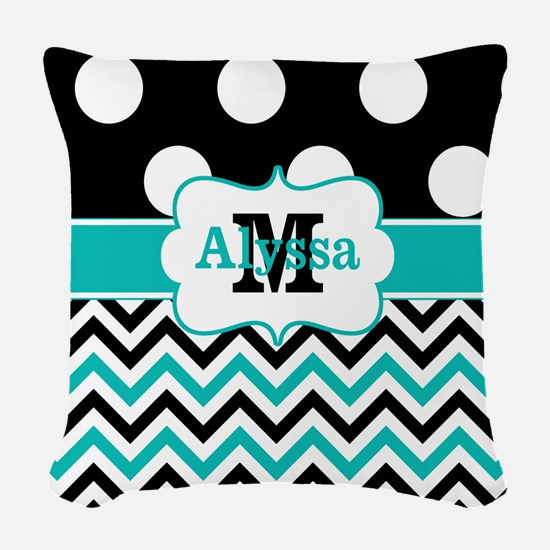 Black Teal Dots Chevron Personalized Woven Throw P