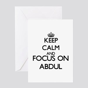 Keep Calm and Focus on Abdul Greeting Cards