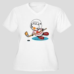 Ice Hockey Pengui Women's Plus Size V-Neck T-Shirt