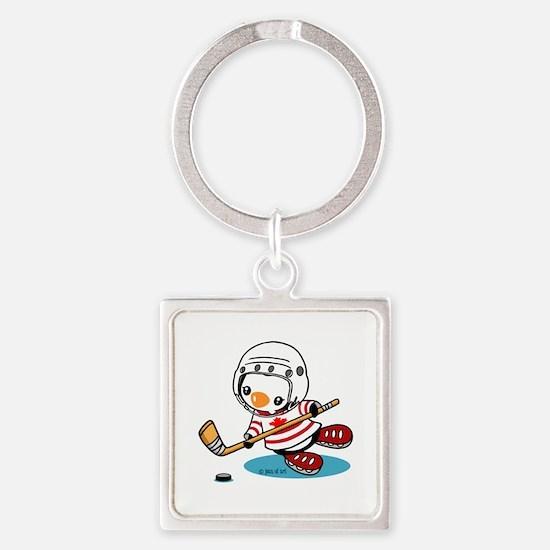 Ice Hockey Penguin (1) Square Keychain
