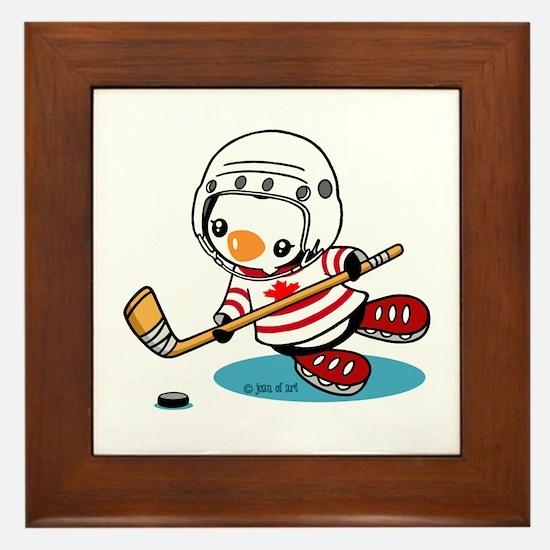 Ice Hockey Penguin (1) Framed Tile