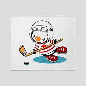 Ice Hockey Penguin (1) Throw Blanket