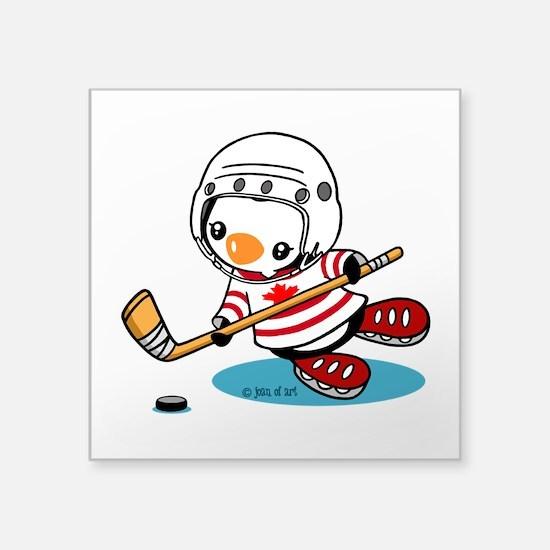 "Ice Hockey Penguin (1) Square Sticker 3"" x 3"""