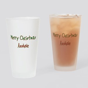 Merry Christmas Asshole Drinking Glass