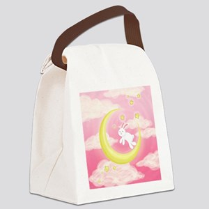 Moon Bunny Pink Canvas Lunch Bag
