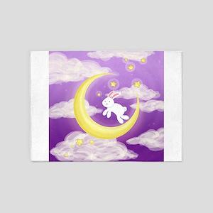 Moon Bunny Purple 5'x7'Area Rug