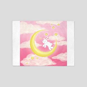 Moon Bunny Pink 5'x7'Area Rug