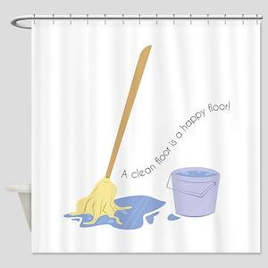 A Clean Floor Shower Curtain