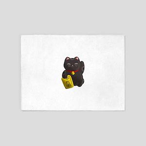 Lucky Cat Black 5'x7'Area Rug