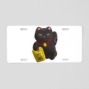 Lucky Cat Black Aluminum License Plate