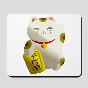 Lucky Cat White Mousepad