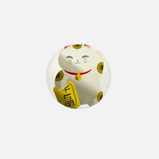 Lucky Cat White Mini Button