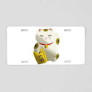 Lucky Cat White Aluminum License Plate