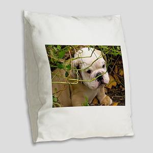 English Bulldog Puppy Burlap Throw Pillow