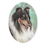 Tricolor Collie Oval Ornament