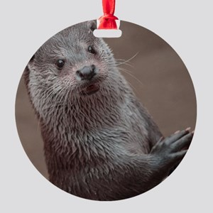 Sweet young Otter Round Ornament