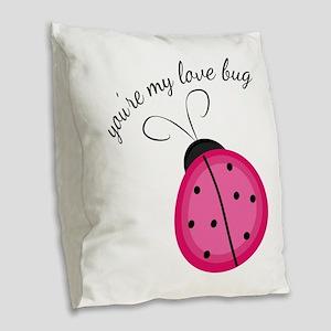 Love Bug Burlap Throw Pillow