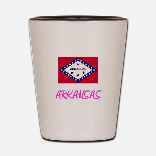 Arkansas Flag Artistic Pink Design Shot Glass