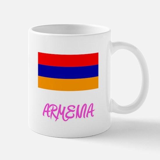 Armenia Flag Artistic Pink Design Mugs