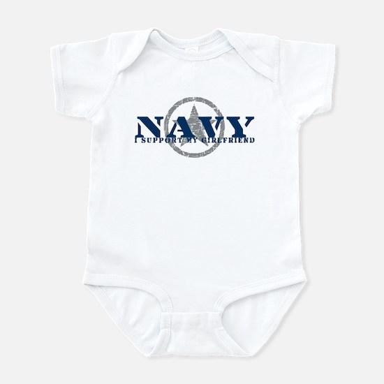Navy - I Support My Girlfriend Infant Bodysuit